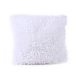 Candy Color Plush Sofa Waist Pillow Cushion Case for Home Decor, Specification:42cmx42cm(White)