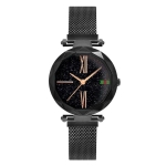 308 Ladies Simple Starry Sky Dial Magnetic Buckle Mesh Belt Quartz Watch(Black)