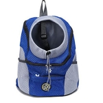 Outdoor Pet Dog Carrier Bag Front Bag Double Shoulder Portable Travel Backpack Mesh Backpack Head, Size:L(Blue)