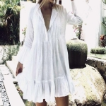 2 PCS Viscose Pleated Button Trumpet Sleeve Sun-proof Clothing Swimsuit Cover-up Skirt, Size:One Size(White)