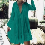 2 PCS Viscose Pleated Button Trumpet Sleeve Sun-proof Clothing Swimsuit Cover-up Skirt, Size:One Size(Lake Green)