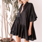 2 PCS Viscose Pleated Button Trumpet Sleeve Sun-proof Clothing Swimsuit Cover-up Skirt, Size:One Size(Black)