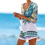 Chiffon Snake Texture Print Swimsuit Cover-up, Size:XL(Blue )