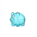Transparent Plastic Money Saving Box Case Coins Piggy Bank Cartoon Pig Shaped, Size:12x8x11cm(Blue)