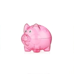 Transparent Plastic Money Saving Box Case Coins Piggy Bank Cartoon Pig Shaped, Size:10*7*8cm(Red)