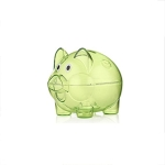 Transparent Plastic Money Saving Box Case Coins Piggy Bank Cartoon Pig Shaped, Size:10*7*8cm(Green)