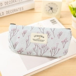 Cute Floral Canvas Zipper Pencil Cases Flower Tree Pen Bags(Light blue)