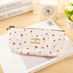 Cute Floral Canvas Zipper Pencil Cases Flower Tree Pen Bags(White Flower)