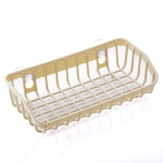 Plastic Sink Shelf  Double Suction Cup  Sponge Drain Rack  Multifunction Storage Racks(Beige)