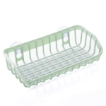 Plastic Sink Shelf  Double Suction Cup  Sponge Drain Rack  Multifunction Storage Racks(Light Green)
