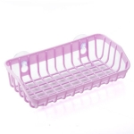 Plastic Sink Shelf  Double Suction Cup  Sponge Drain Rack  Multifunction Storage Racks(Light Purple)
