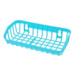 Plastic Sink Shelf  Double Suction Cup  Sponge Drain Rack  Multifunction Storage Racks(Blue)
