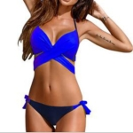 Ladies Cross Patchwork Swimwear Backless Split Bikini, Size:XL(Royal blue)