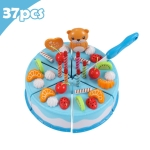 DIY Pretend Play Cutting Fruit Birthday Cake Kitchen Food Toys Gift for Children 37pcs(Blue)