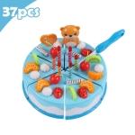 DIY Pretend Play Cutting Fruit Birthday Cake Kitchen Food Toys Gift for Children 37pcs(Blue)