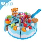 DIY Pretend Play Cutting Fruit Birthday Cake Kitchen Food Toys Gift for Children 38pcs(Blue)