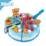 DIY Pretend Play Cutting Fruit Birthday Cake Kitchen Food Toys Gift for Children 38pcs(Blue)