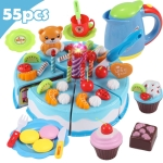 DIY Pretend Play Cutting Fruit Birthday Cake Kitchen Food Toys Gift for Children 55pcs(Blue)