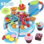 DIY Pretend Play Cutting Fruit Birthday Cake Kitchen Food Toys Gift for Children 55pcs(Blue)
