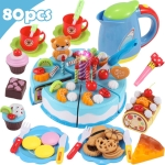 DIY Pretend Play Cutting Fruit Birthday Cake Kitchen Food Toys Gift for Children 80pcs(Blue)