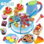 DIY Pretend Play Cutting Fruit Birthday Cake Kitchen Food Toys Gift for Children 80pcs(Blue)