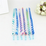 2 PCS Rainbow Color Headband Cute Girls Hair band Crystal Long Elastic Headwear(1#Blue)