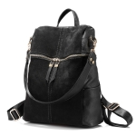 Vintage Women Backpack PU Leather School Backpacks(Black)