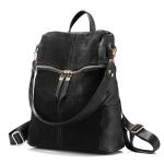 Vintage Women Backpack PU Leather School Backpacks(Black)