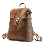 Vintage Women Backpack PU Leather School Backpacks(Khaki)