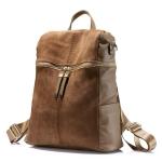 Vintage Women Backpack PU Leather School Backpacks(Khaki)
