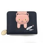 Women Cute Cat Wallet Small Zipper Wallet PU Leather Coin Purse Card Holder(Black)