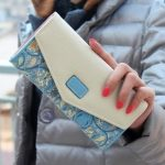 Long Leather Floral Pattern Wallets Coin Purses Money Bag for Women(Blue)