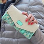 Long Leather Floral Pattern Wallets Coin Purses Money Bag for Women(Green)