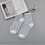 10 Pairs Sexy Lace Mesh Fiber Transparent Stretch Socks(square white nude socks)