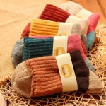 5 Pairs Women Winter Vintage Rabbit Wool Socks Thicken Warm Female Fashion Patchwork Retro thermal Cotton Socks, Size:Free Size(color mixing)
