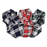 Summer Pet Dog Clothes for Small Dogs Fashion Cotton Cat Dog Plaid Shirt, Size:M(Green)