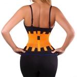 Men and Women Neoprene Lumbar Waist Support Unisex Exercise Weight Loss Burn Shaper Gym Fitness Belt, Size:M(Orange)