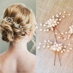 Elegant Bridal Wedding Crystal Pearl Flower Hair Pins Handmade Bridesmaid Bridal Veil Hair Accessories(Sliver)