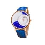 Women Crystal Sands Snake Skin Texture Leather Belt Watch(Light blue)
