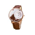 Women Crystal Sands Snake Skin Texture Leather Belt Watch(Coffee)