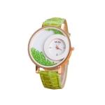 Women Crystal Sands Snake Skin Texture Leather Belt Watch(Green)