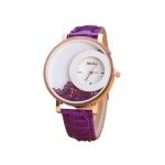 Women Crystal Sands Snake Skin Texture Leather Belt Watch(Purple)