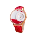 Women Crystal Sands Snake Skin Texture Leather Belt Watch(Red)