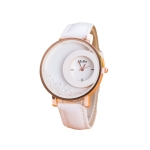 Women Crystal Sands Snake Skin Texture Leather Belt Watch(White)