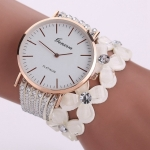 Women Round Dial Flower Diamond Studs Bracelet Watch(White)
