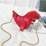 Rivet Personality Dinosaur Design Fashion Leather Mini Messenger Bag Women Chain Purse(Red)