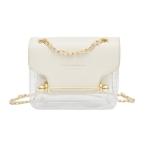 3 PCS Fashion Women Brand Design Small Square Shoulder Bag Clear Transparent PU Composite Messenger Female Handbags(White)