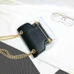 3 PCS Fashion Women Brand Design Small Square Shoulder Bag Clear Transparent PU Composite Messenger Female Handbags(Black)