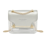 3 PCS Fashion Women Brand Design Small Square Shoulder Bag Clear Transparent PU Composite Messenger Female Handbags(Sliver)