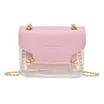 3 PCS Fashion Women Brand Design Small Square Shoulder Bag Clear Transparent PU Composite Messenger Female Handbags(Pink)